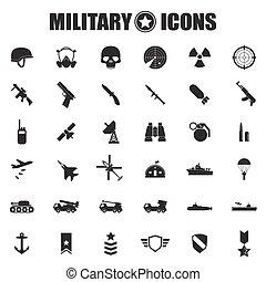 militar, jogo, ícones