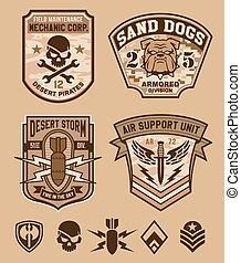 militar, jogo, emblema, deserto, remendo