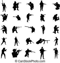 militar, jogo, silueta