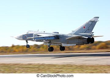 militar, launch., bombardero, chorro