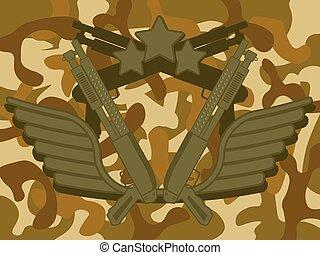 militar, logotipo, escopeta