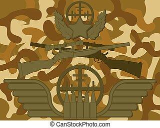 militar, logotipo, franco-atirador