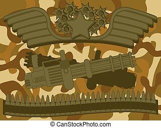 militar, logotipo, máquina, artillero