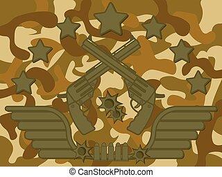 militar, logotipo, pistola, atirador