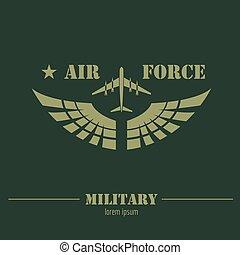 militar, logotipo, y, badge., aire, force., gráfico, plantilla