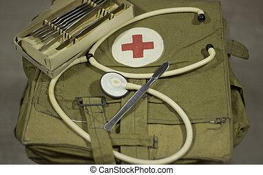 militar, médico, bag.