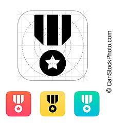 militar, medalha, icon.