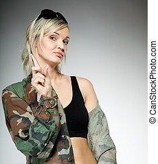 militar, menina, mulher, roupas, exército