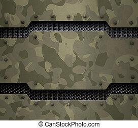 militar, metal, fundo, ilustração, 3d