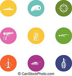 militar, miembro, iconos, conjunto, plano, estilo