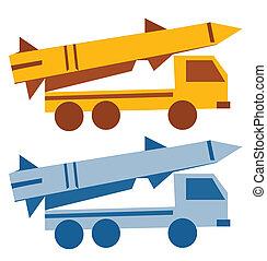militar, misil, silueta, caricatura, vehículo
