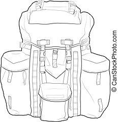 militar, mochila, vetorial, esboço