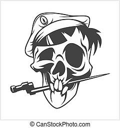 militar, mordedura, daga, cráneo