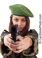 militar, mulher, apontar