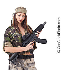 militar, mulher, uniforme