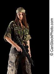 militar, mulher, uniforme, excitado