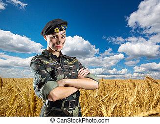 militar, mulher, uniforme, soldado
