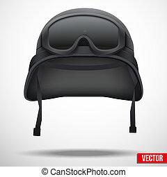 militar, negro, casco, y, gafas de protección, vector