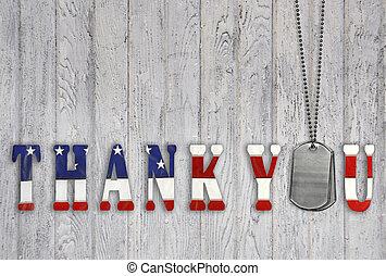 militar, obrigado, com, cão, etiquetas