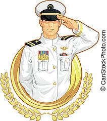 militar, oficial, em, saudação, gesto