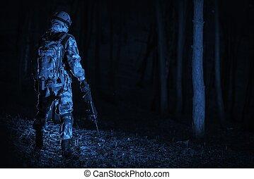 militar, operação, à noite