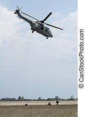 militar, operación, con, helicópteros