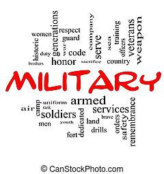 militar, palabra, nube, concepto, en, rojo, tapas