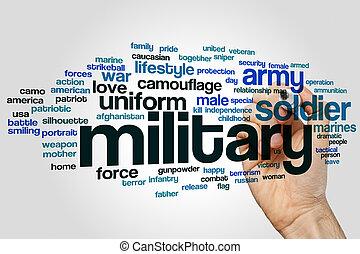 militar, palabra, nube