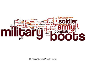 militar, palavra, botas, nuvem