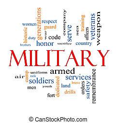 militar, palavra, nuvem, conceito