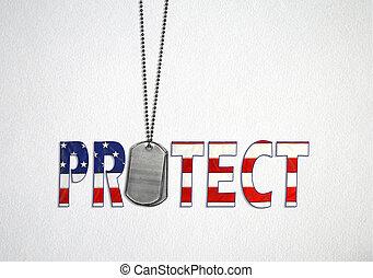 militar, perro, etiquetas, con, bandera, texto