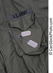 militar, perro, etiquetas