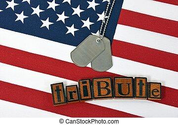 militar, perro, etiquetas, tributo