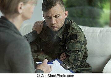 militar, psiquiatra, desesperación, hombre