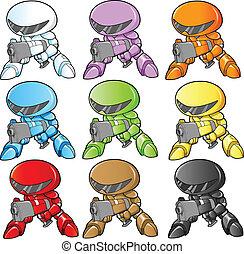 militar, robot, soldado, guerrero
