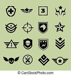 militar, símbolo, iconos