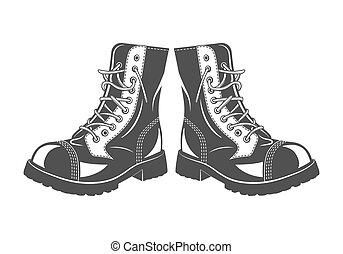 militar, salto, botas
