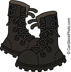 militar, sapatos, couro, pretas
