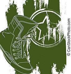 militar, sapatos