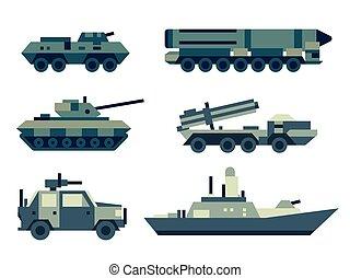 militar, set., technics, máquinas, exército