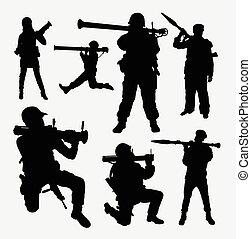 militar, silhuetas, bazooka, exército