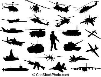 militar, silhuetas
