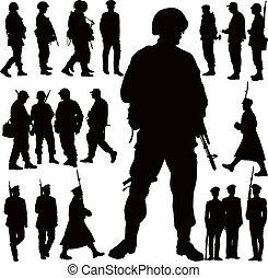 militar, siluetas
