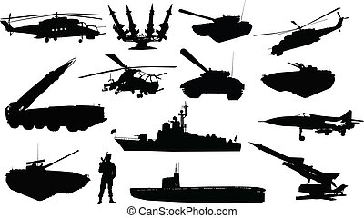 militar, siluetas, conjunto