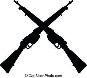 militar, siluetas, rifles, viejo
