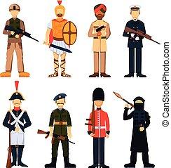 militar, soldados, en, uniforme, avatar, carácter, conjunto,...