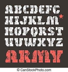 militar, stencil-plate, fuente, serif