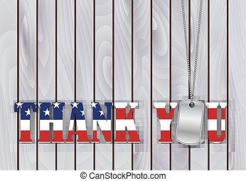 militar, tag cão, obrigado, com, bandeira