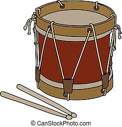 militar, tambor, antigas