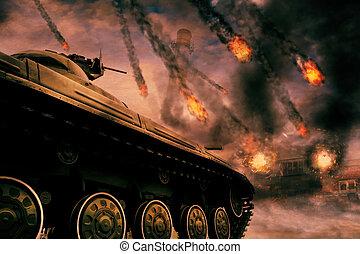 militar, tanque, ligado, campo batalha